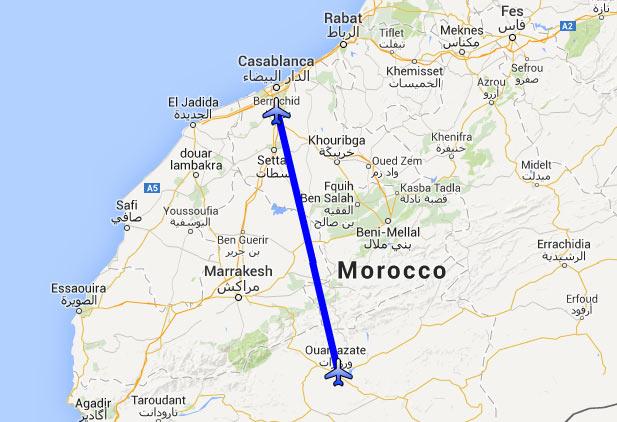 Mapa do trajecto Avião Casablanca para Ouarzazate