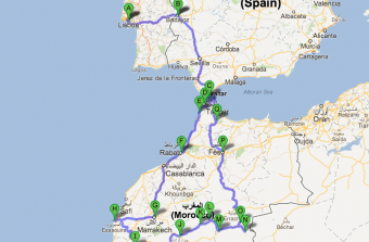 Mapa Viagem Tanger Erfoud