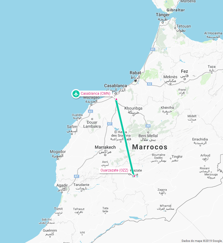 AIRPLANE CASABLANCA OUARZAZATE MAP