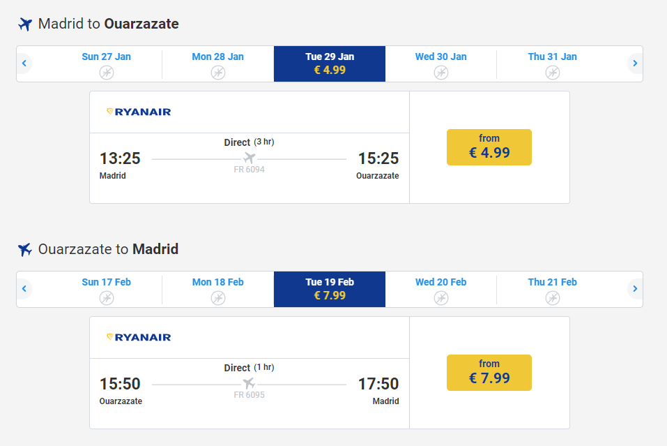AIRPLANE MADRID TO OUARZAZATE 13 EUROS ROUND TRIP