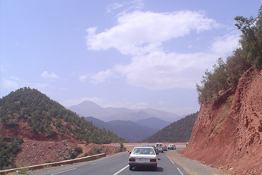 Driving in Morocco, Atlas Mountains way to Ourika valley