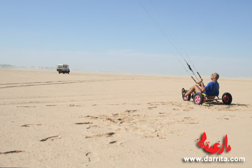 Photo of man practicing Kite Buggy near Dakhla in south Morocco
