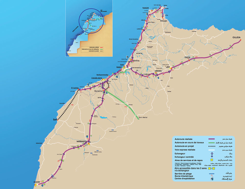 Auto estrada Tanger Marrakech Marrocos